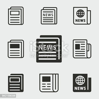 News vector icons set. Black illustration isolated for graphic and web design.