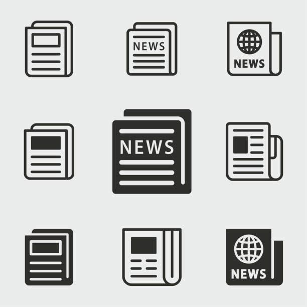nachrichten-symbole festgelegt. - publikation stock-grafiken, -clipart, -cartoons und -symbole