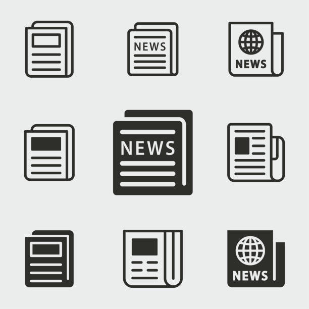 illustrazioni stock, clip art, cartoni animati e icone di tendenza di news icons set. - newspaper paper