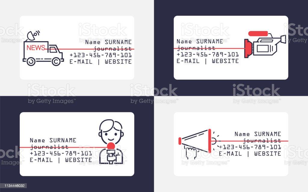 News Ikonen Vektor Visitenkartenjournalist Charakter Mit