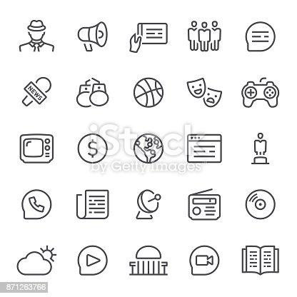 Media, news, icon, icon set, journalism, television, radio, social media
