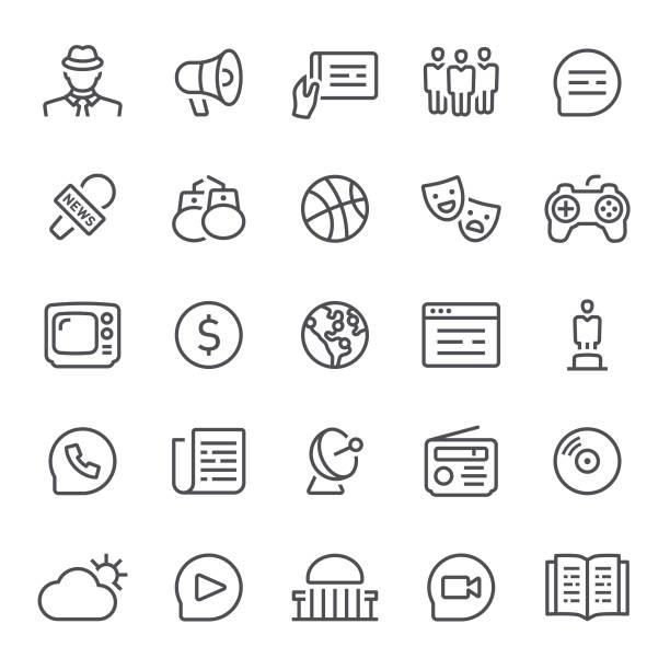 stockillustraties, clipart, cartoons en iconen met nieuws-pictogrammen - journalist