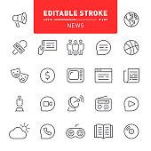Media, news, icon, editable stroke, outline, icon set, journalism, television, radio, social media