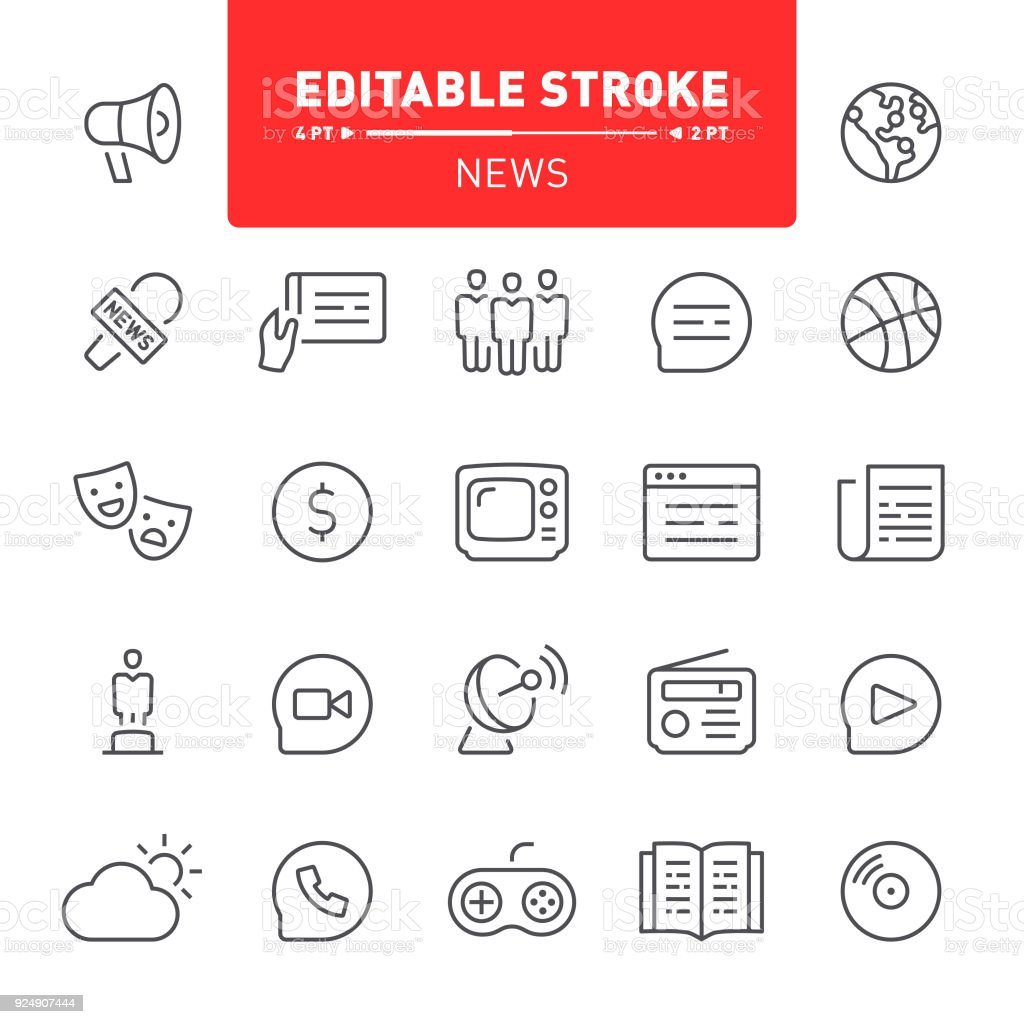 News Icons vector art illustration