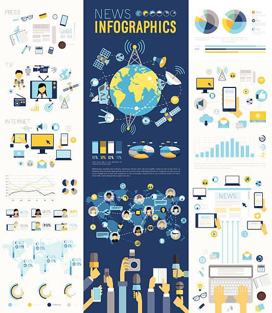 ニュースインフォグラフィックセット、チャート、および他の要素です。 ベクターアートイラスト