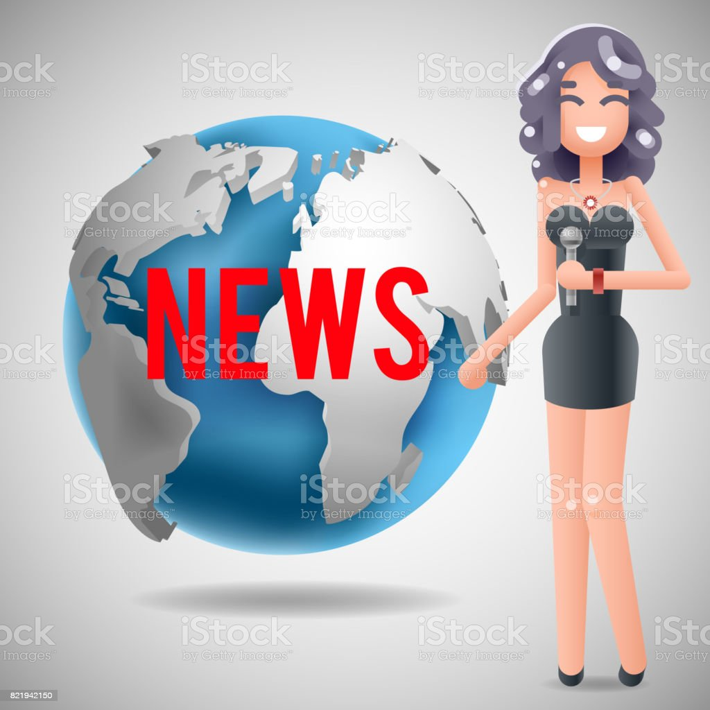 News Journalist Reporting Reporter Female Girl Character Mass Media Symbol On World Globe Background Design Template