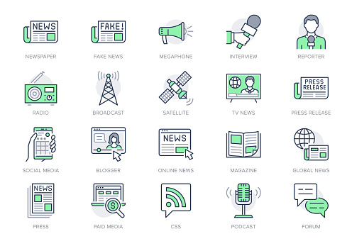 News line icons. Vector illustration included icon as newspaper, mass media, journalist, fake, television broadcasting outline pictogram for online press. Editable Stroke, Green Color