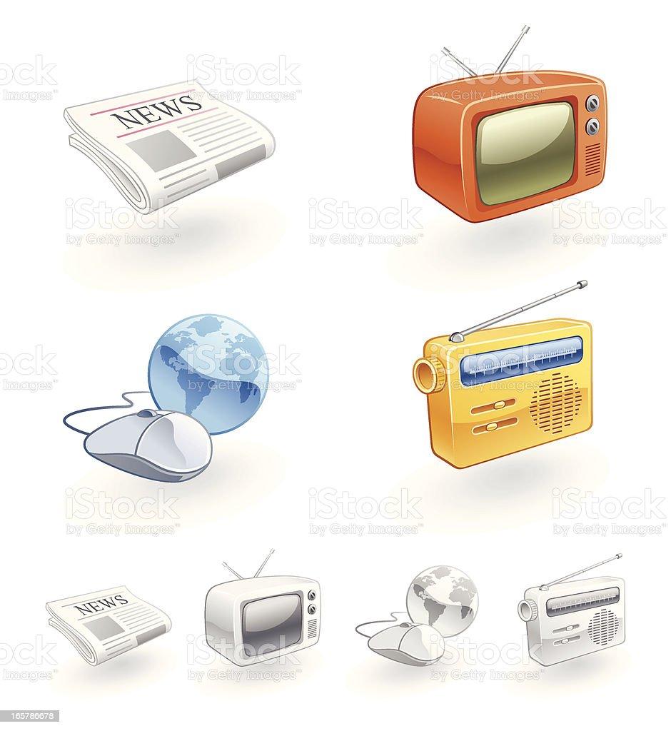 News Media Icons of TV, Radio, Internet, Newspaper royalty-free stock vector art