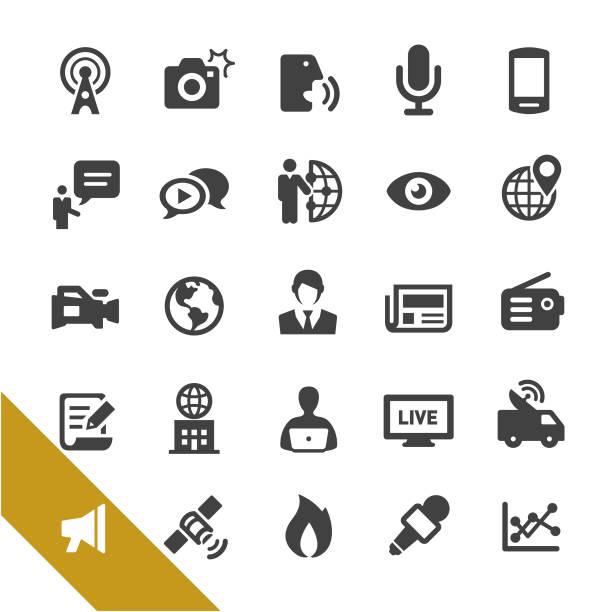 stockillustraties, clipart, cartoons en iconen met nieuws media iconen - select series - journaal presentator