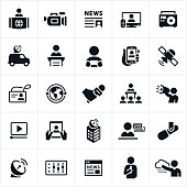 Icons representing news media and broadcasting. The icons include news reporters, video camera, television, news article, radio, news vehicle, interview, devices, online streaming, video, satellite, press pass, global communications, microphone, live reporting, online news, meteorology an news broadcasting to name a few.