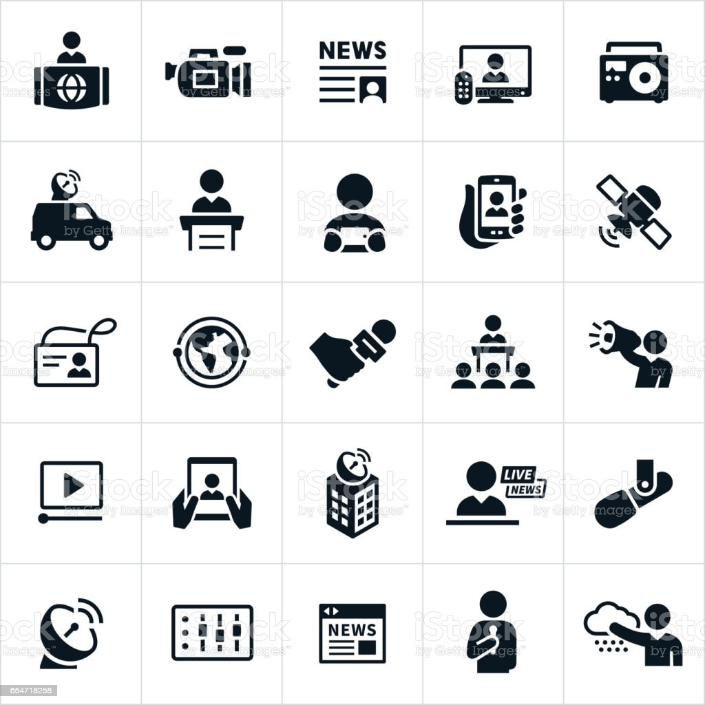 News Media Icons vector art illustration