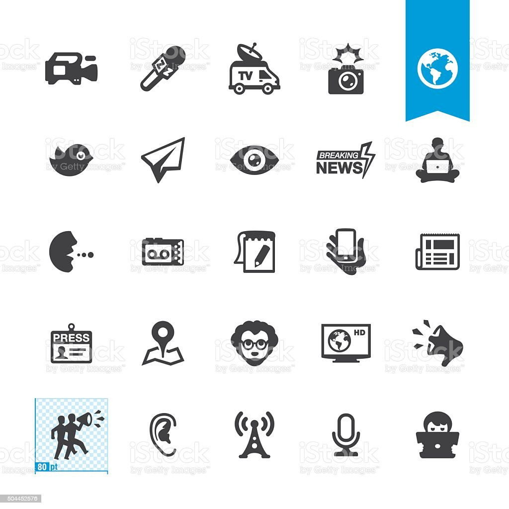 News media related vector icons vector art illustration