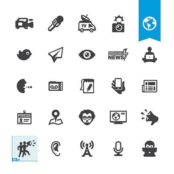 illustrations, cliparts, dessins animés et icônes de vecteur icônes des médias - interview