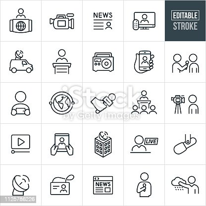 A set of news media icons that include editable strokes or outlines using the EPS vector file. The icons include broadcasters, news programs, news broadcasting, news camera, news story, television, satellite dish, radio, online news, satellite, world news, microphone, interview, press conference, video, broadcasting center, live broadcast and weather person to name a few.