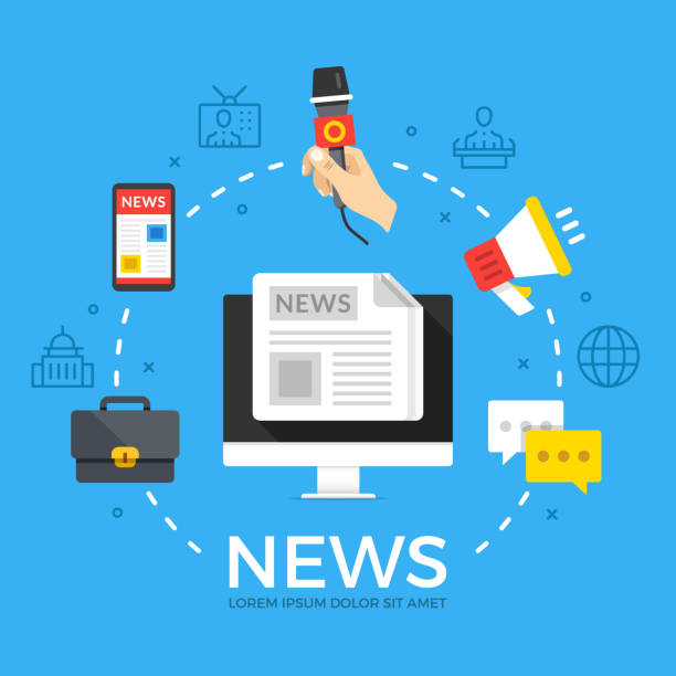illustrazioni stock, clip art, cartoni animati e icone di tendenza di news. modern flat design style graphic elements. thin line icons set and flat icons set for web banners, websites, infographics, printed materials. premium quality. vector illustration - news