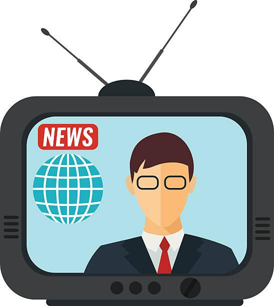 News Of The WorldTV Presenter Anchor In Studio Vector Art