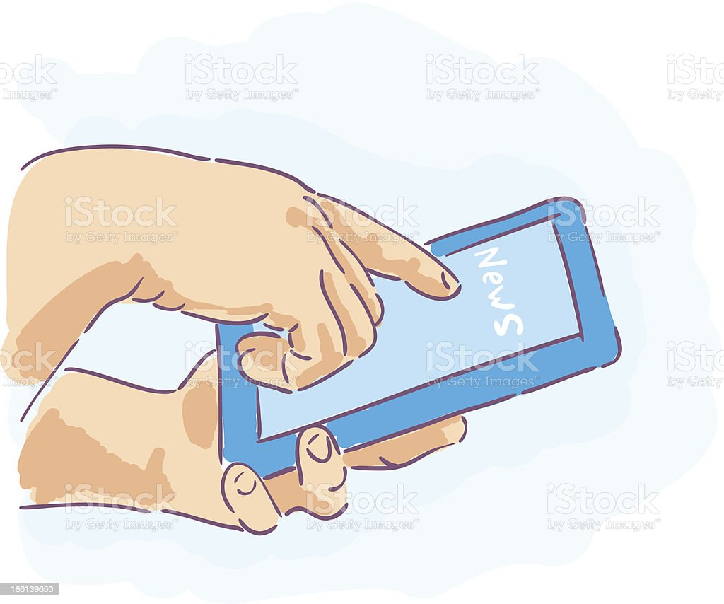 news on Tablet PC. hands holding royalty-free stock vector art