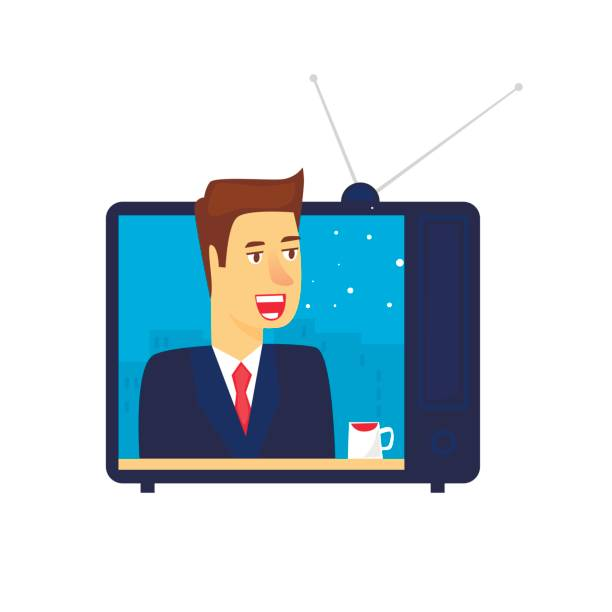 News On TV Flat Vector Illustration In Cartoon Style Art