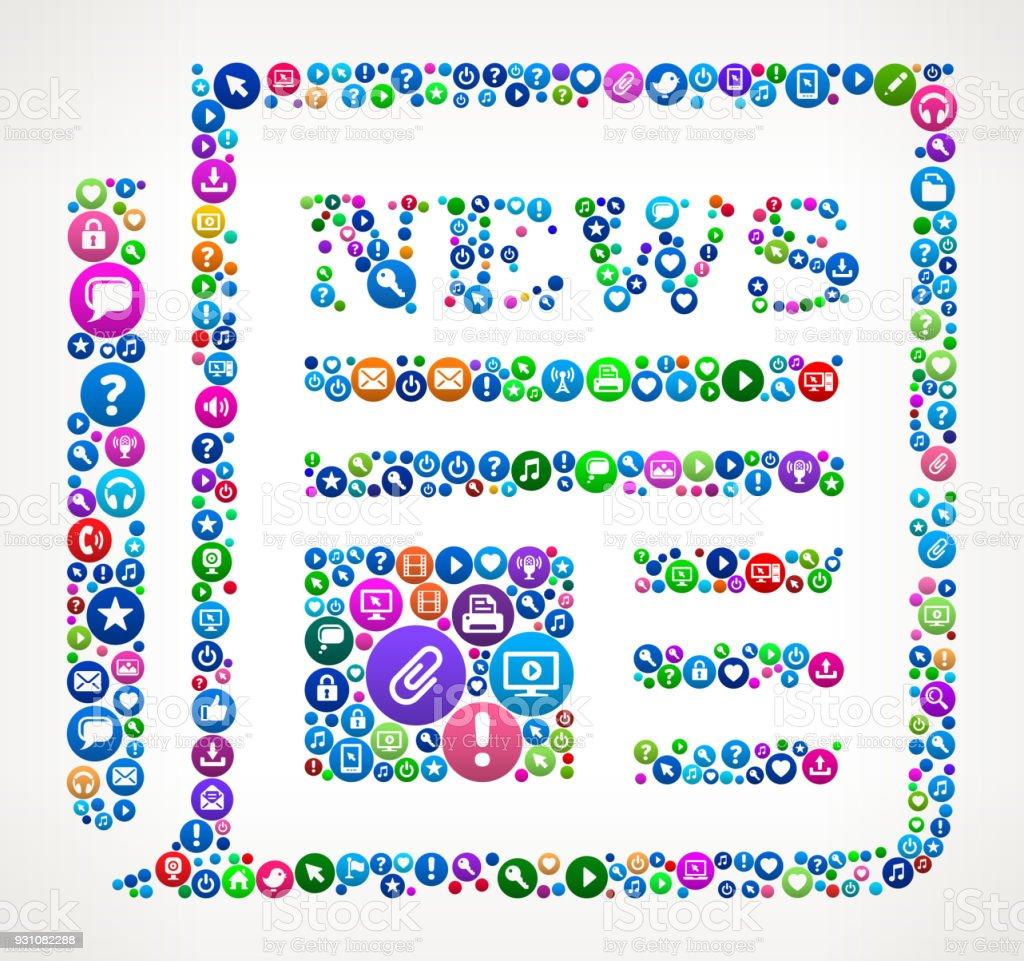 News Paper Internet Communication Technology Icon Pattern vector art illustration