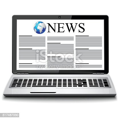 Modern metal glossy office laptop with business news