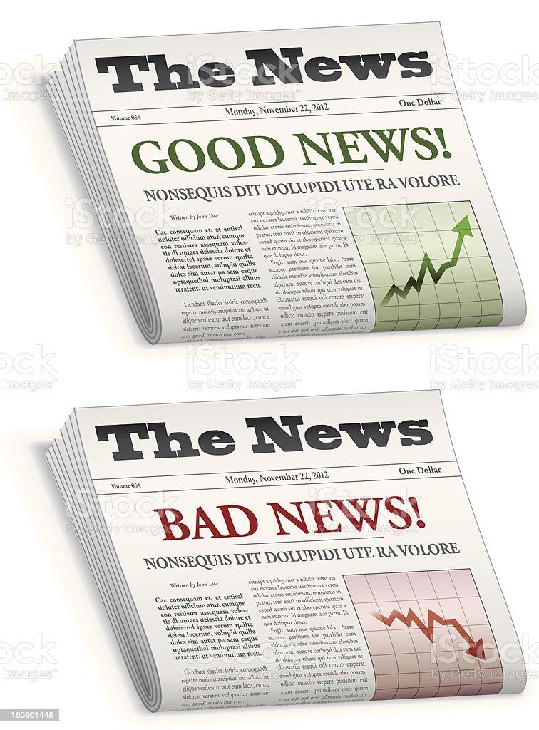 News paper saying good news and bad news vector art illustration