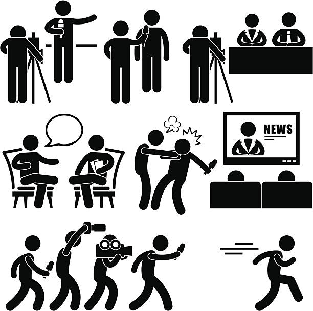 stockillustraties, clipart, cartoons en iconen met news reporter anchor woman newsroom pictogram - perskamer