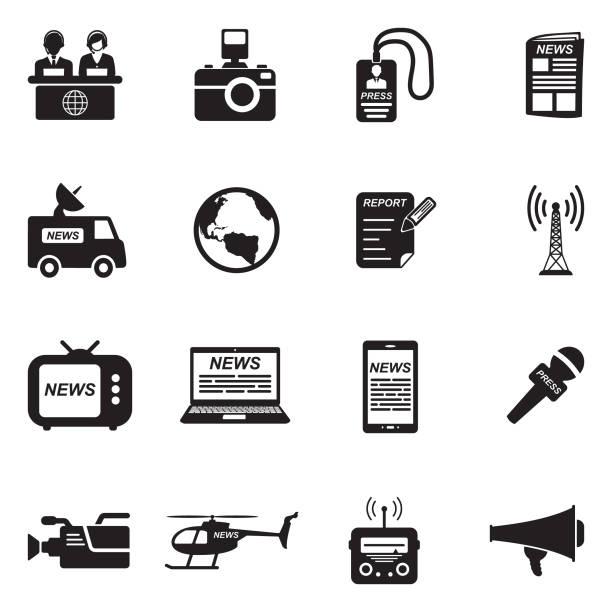 stockillustraties, clipart, cartoons en iconen met nieuws verslaggever pictogrammen. zwart plat design. vectorillustratie. - journalist