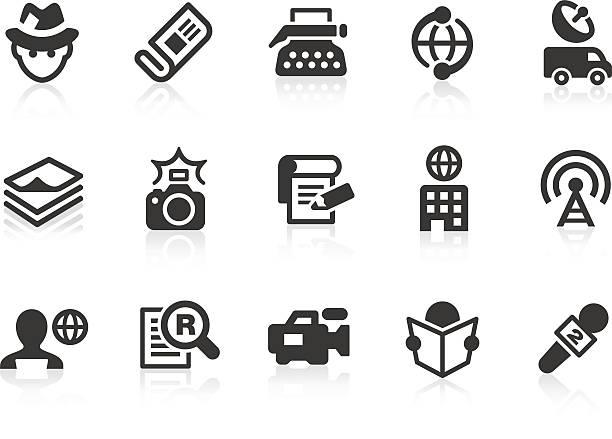 stockillustraties, clipart, cartoons en iconen met news reporter icons for design and application - journalist