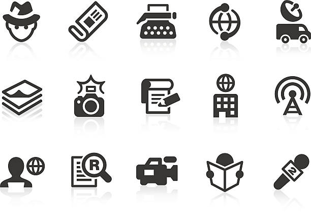 News reporter アイコンのデザインおよびアプリケーション ベクターアートイラスト