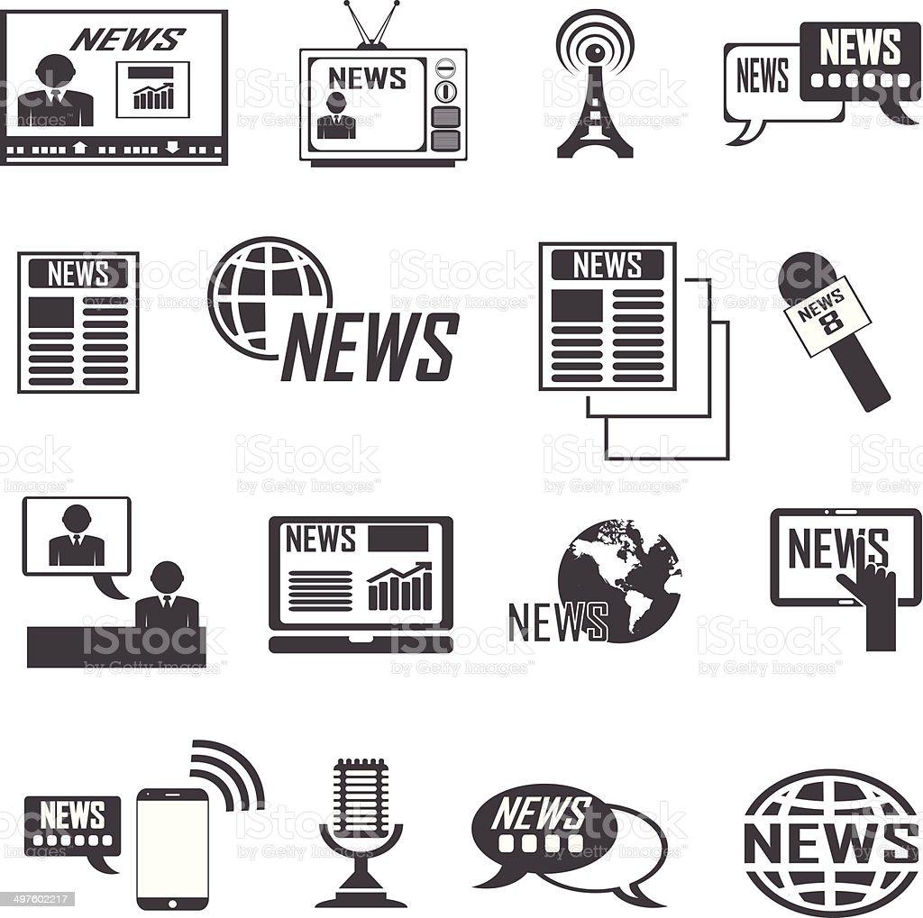 News reporter icons set. vector  illustrations EPS10 vector art illustration