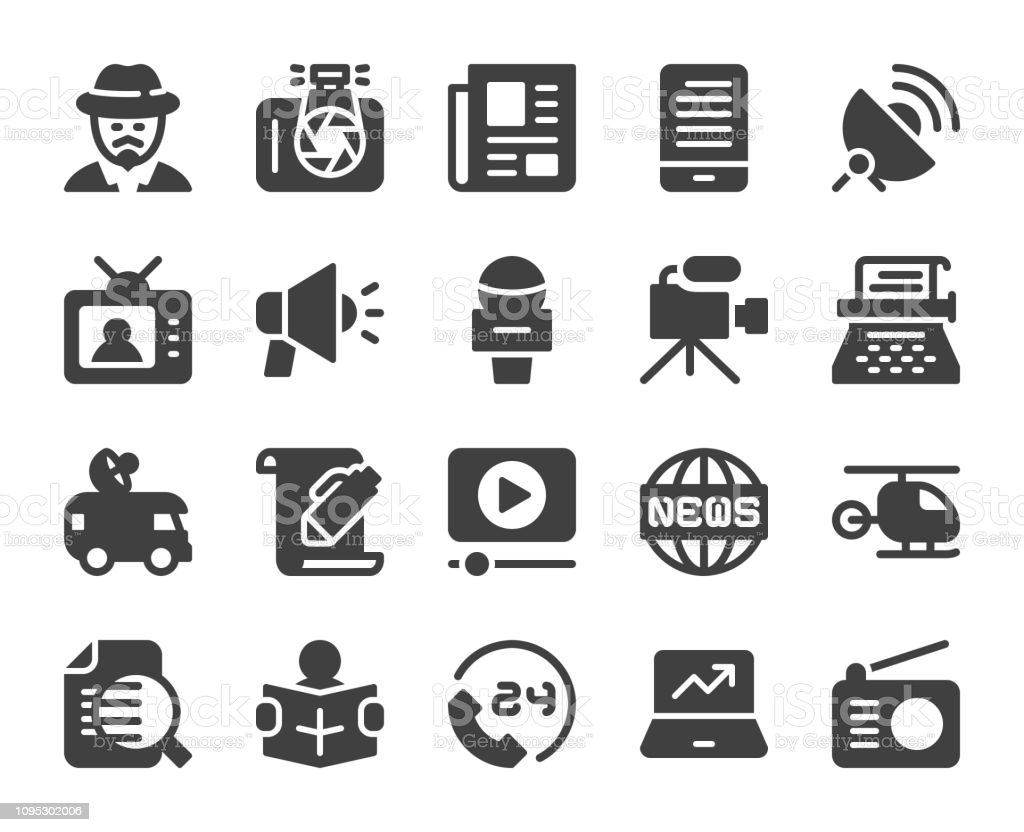 News Reporter - Icons vector art illustration