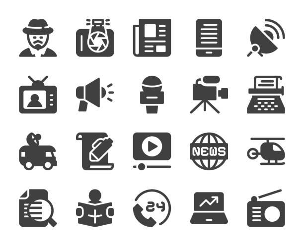 stockillustraties, clipart, cartoons en iconen met nieuwsverslaggever - pictogrammen - journaal presentator