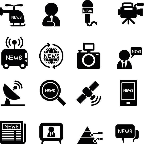 stockillustraties, clipart, cartoons en iconen met news reporter icons - journalist