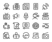 News Reporter Line Icons Vector EPS File.