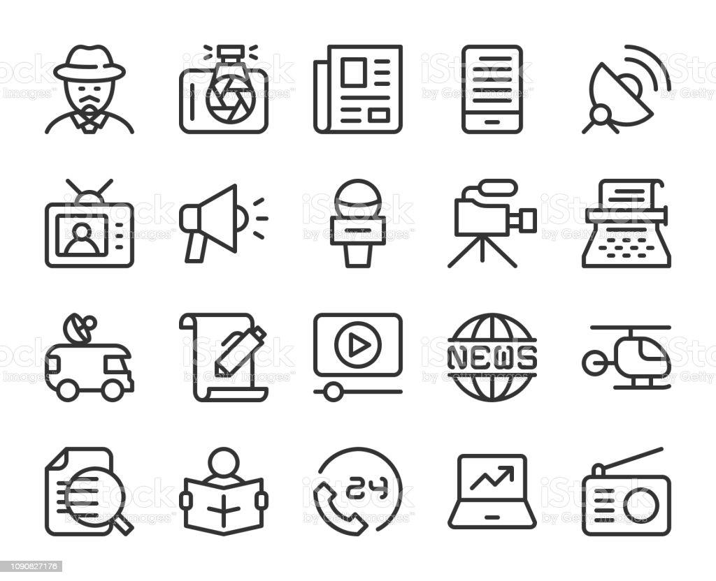 News Reporter - Line Icons vector art illustration