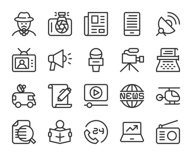 illustrazioni stock, clip art, cartoni animati e icone di tendenza di news reporter - line icons - newspaper paper