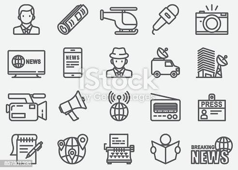News Reporter Line Icons
