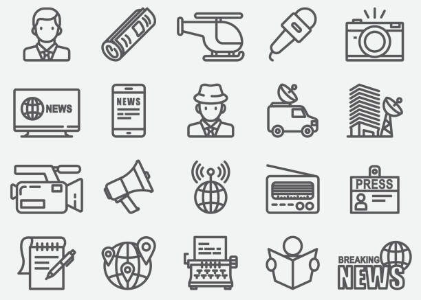 News Reporter Line Icons vector art illustration