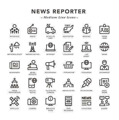News Reporter - Medium Line Icons
