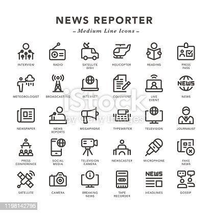 News Reporter - Medium Line Icons - Vector EPS 10 File, Pixel Perfect 30 Icons.