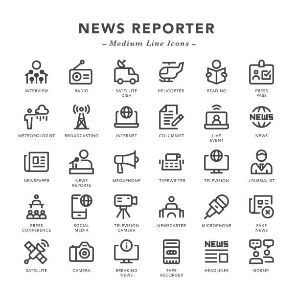 News Reporter - Medium Line Icons News Reporter - Medium Line Icons - Vector EPS 10 File, Pixel Perfect 30 Icons. broadcasting stock illustrations