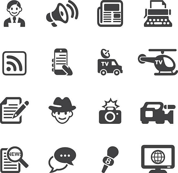 illustrations, cliparts, dessins animés et icônes de actualités reporter/silhouette icônes eps10 - interview
