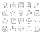 News Reporter Thin Line Icons Vector EPS File.
