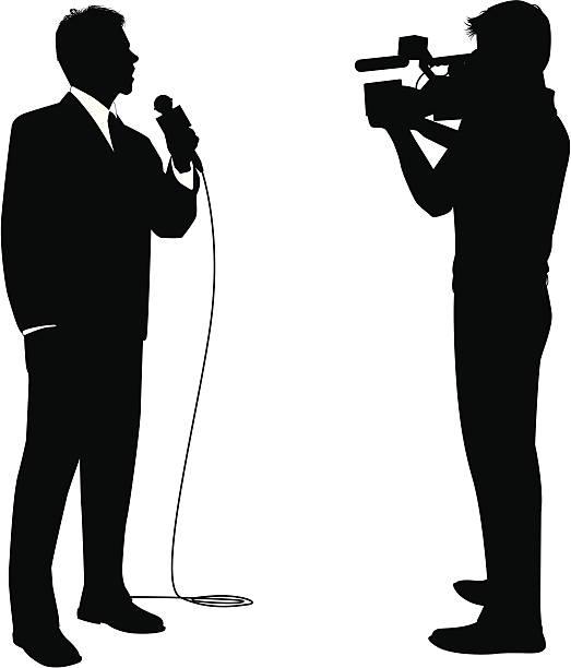 stockillustraties, clipart, cartoons en iconen met news reporter - journaal presentator