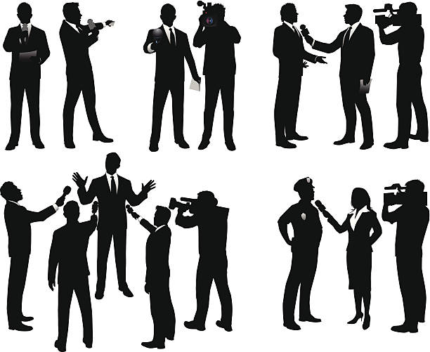 News Reporters Silhouettes of reporters, camera operators, and people being interviewed. Files included – jpg, ai (version 8 and CS3), svg, and eps (version 8) police interview stock illustrations