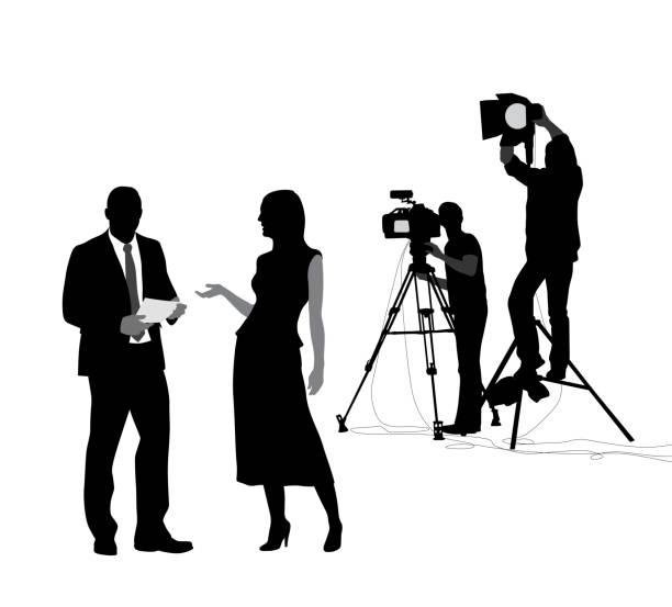 stockillustraties, clipart, cartoons en iconen met nieuws shoot voorbereiding - acteur