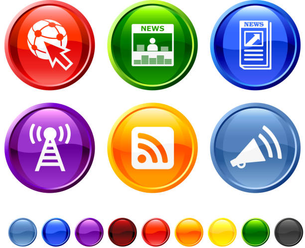 news source sechs lizenzfreie vektor icon-set - standlautsprecher stock-grafiken, -clipart, -cartoons und -symbole
