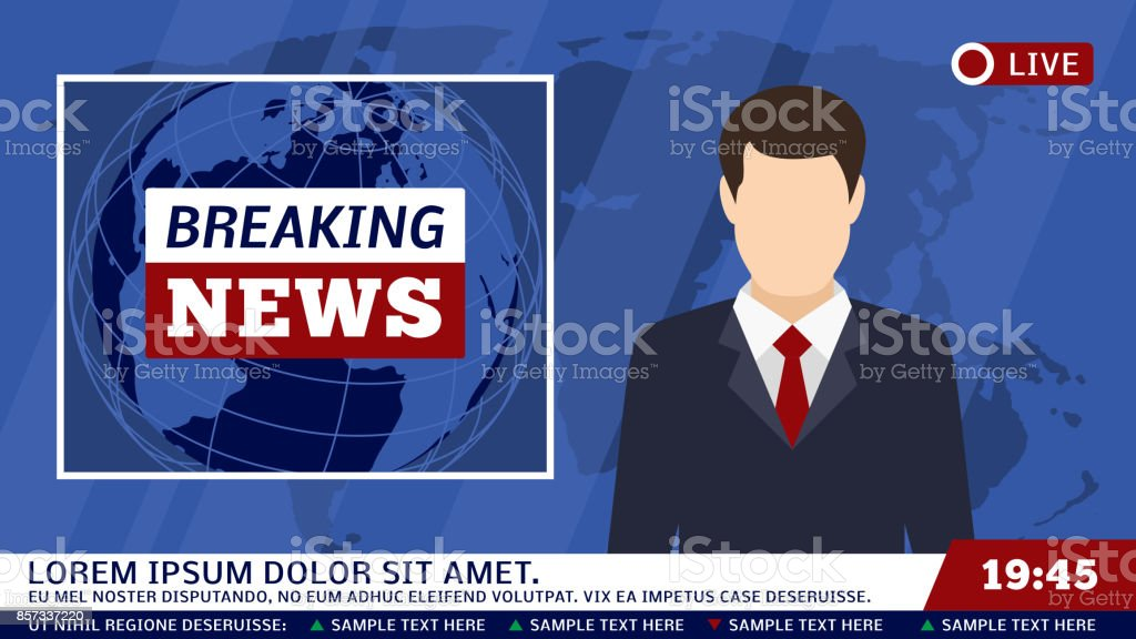TV news studio with broadcaster and breaking world background vector illustration vector art illustration