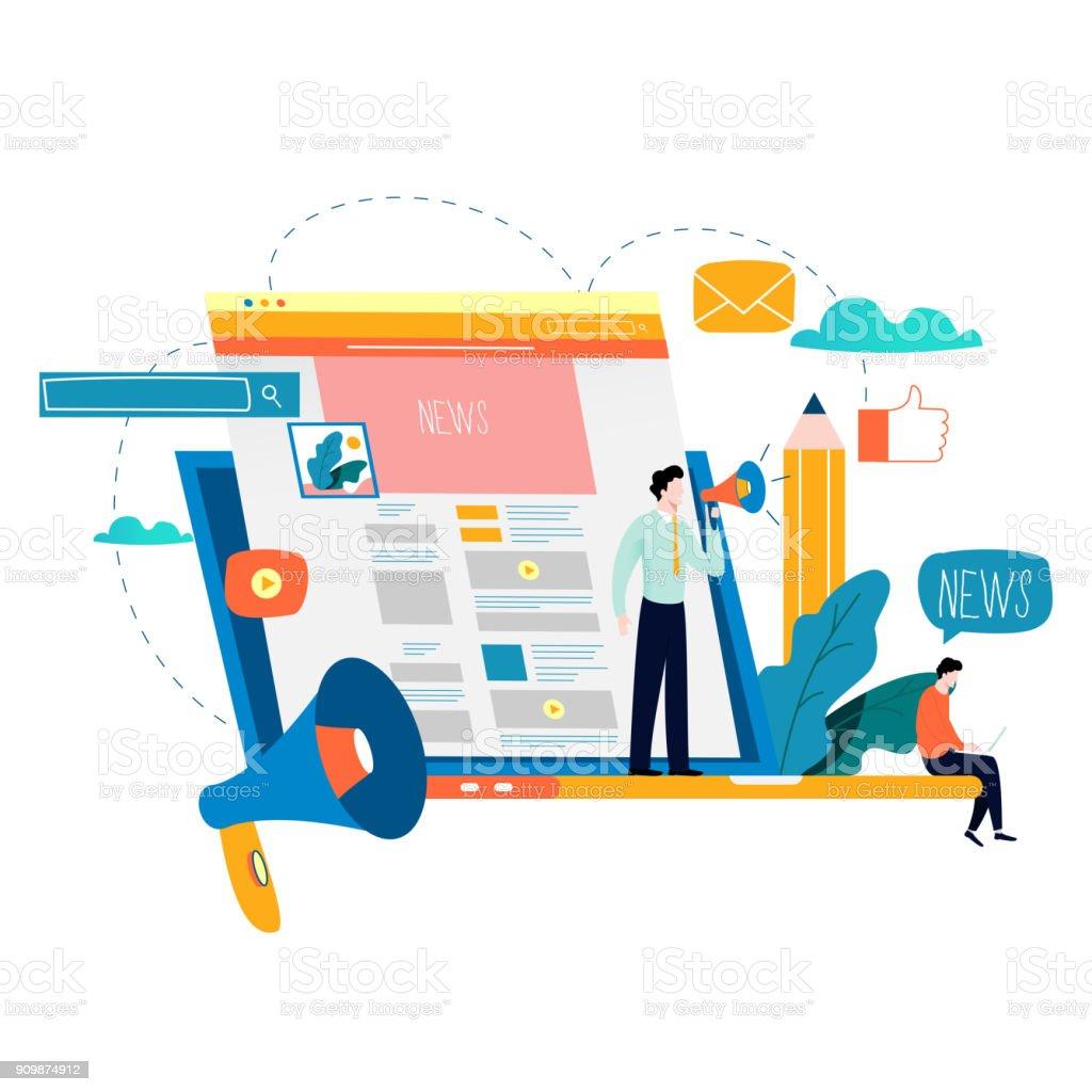 News update, online news, newspaper, news website flat vector illustration vector art illustration