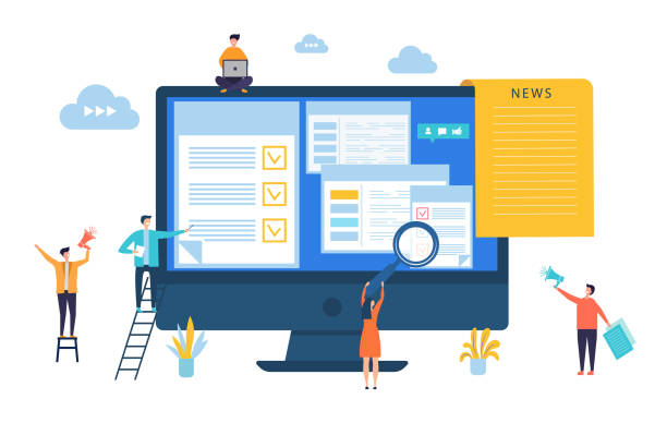 News update. Vector digital news, online newspaper concept. Site editing, content updating illustration News update. Vector digital news, online newspaper concept. Site editing, content updating illustration. Newsletter and newspaper, communication and news online software update stock illustrations